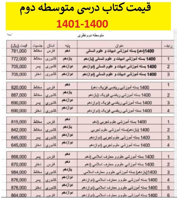 قیمت کتاب درسی متوسطه دوم 1400-1401